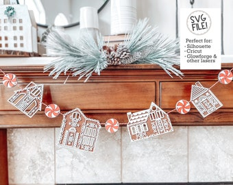 Gingerbread House Garland SVG | Digital Laser File | Glowforge Pattern | Peppermint Candy | Christmas Holiday Decor | Cookie Cottage