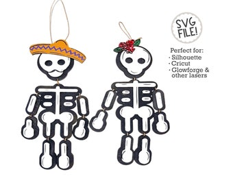 Hanging Skeletons SVG File | Halloween File Pattern | Day of the Dead Wood | Dios De La Muertos Decor | Glowforge Laser Easy | Fall Autumn