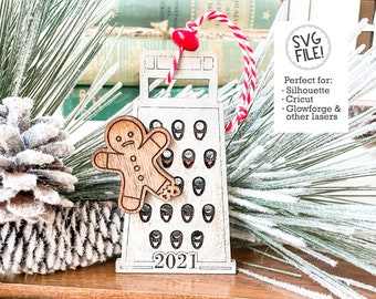Grater 2021 Ornament  SVG | Funny Christmas File | Glowforge Laser Pattern | Easy Laser Ornament | Holiday Tree Decor | Gingerbread Cheese