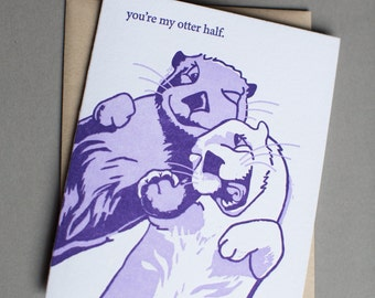 Otter, single letterpress card