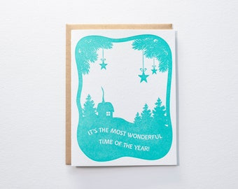 Most Wonderful Time of the Year Papercut - Letterpress Card