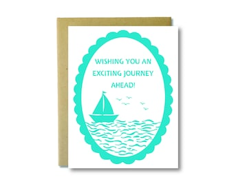 Wishing You an Exciting Journey Ahead - Sailboat Papercut Letterpress Card - Congratulations Card