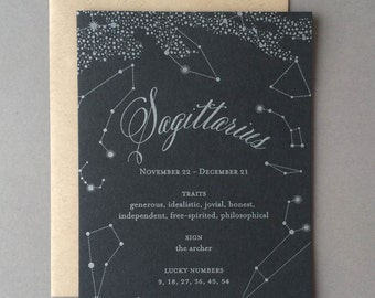 Zodiac Birthday Card - Sagittarius - Letterpress Pop Up Birthday Card