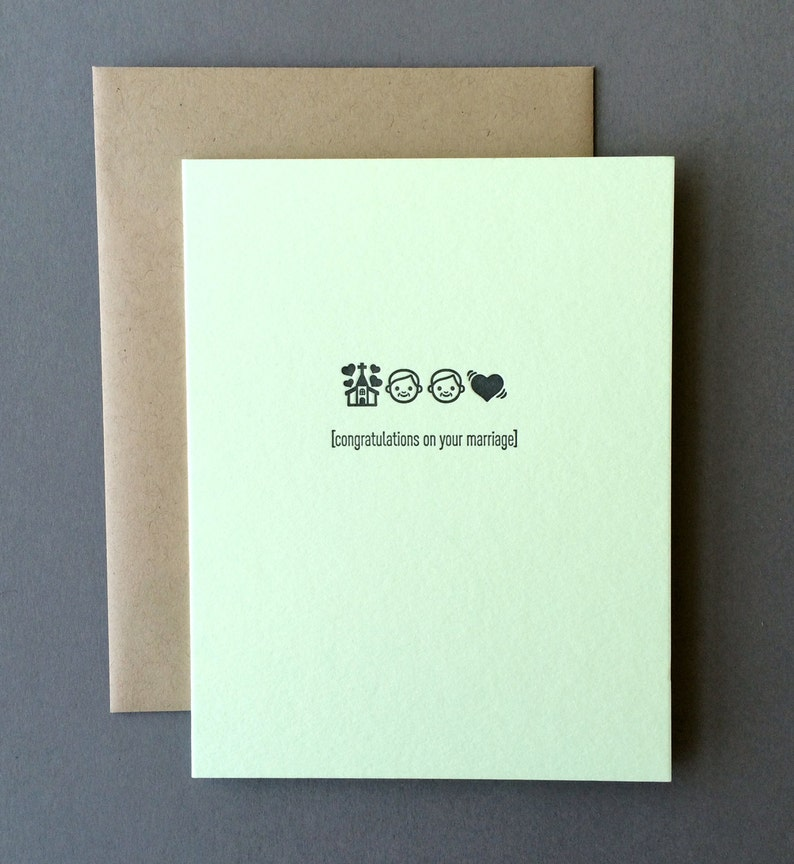 Letterpress Card Congratulations on your Marriage - Emojicards Two Grooms Wedding