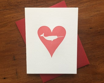 Heart: Narwhal, single letterpress card