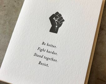 Resist - Inspiring Letterpress Card