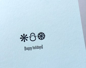 Emojicards: Happy Holidays, single letterpress card