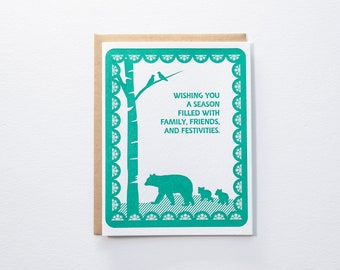 Holiday Season Wishes - Bears in Forest Papercut Style Letterpress Card