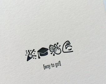 Emojicards: Way To Go! (Grad), single letterpress card