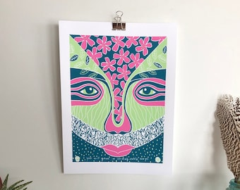 """Limited Edition """"You Will Grow in Unimaginable Ways"""" Face Screen Print on Paper, 9""""x12"""""""