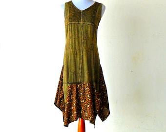 Size S-M Retro Vintage Harvest Tea Length Prairie Girl Dress gypsy lagenlook teen handmade upcycled clothing hippie boho chic wearable art