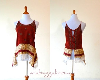 Size S-M ~ Sweetheart Batik & Lace Corset Back Tank Top Blouse ~ gypsy lagenlook handmade upcycled clothing boho chic hippie wearable art