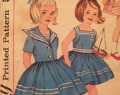 1960's Sailor Style Girl's Dress and Jacket  Vintage Simplicity 3952 Pattern size 6