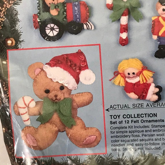 Bucilla Christmas Ornament Kit 12 Piece Felt Christmas Ornament Kit #82837 Toy Collection