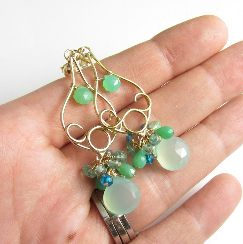 14k Gold Filled with Chrysoprase Spring Buds Earrings Chalcedony and Apatite