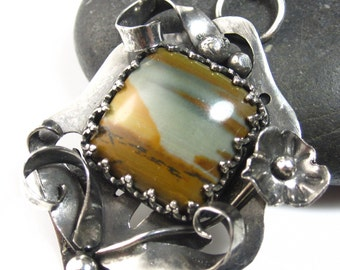 Desert Sunset Necklace - Sterling silver and picture jasper