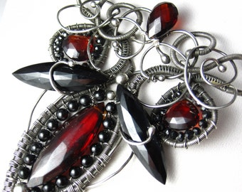 The Red Queen Necklace - Garnet, Black Spinel and Silver