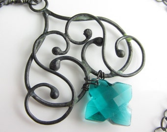 Teal Star Necklace - Teal Hydrothermal Quartz and Blackened Sterling Silver Necklace