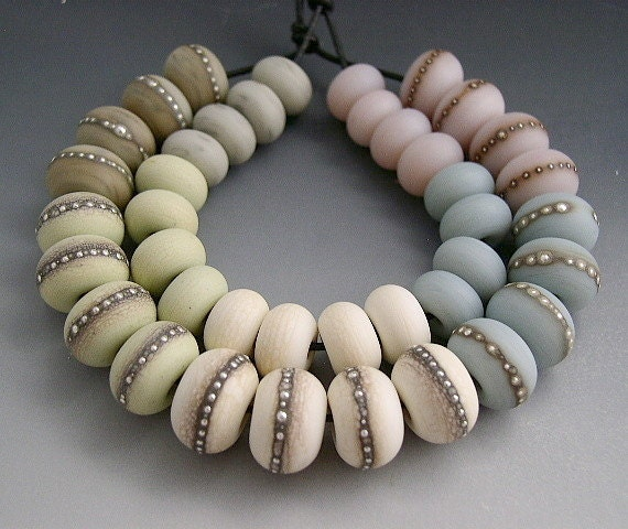 Naos Glass Sky Diamonds Set 40 beads Made To Order Handmade Lampwork Beads SRA