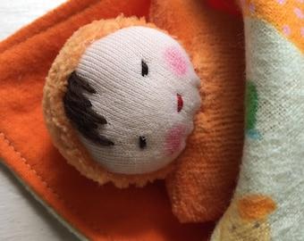 Brunette baby, baby shower gift, waldorf dolls, small doll, germandolls, swaddling blanket, orange  baby, cloth doll