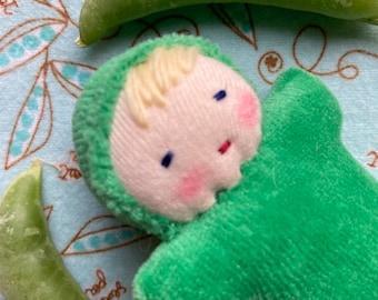 Waldorf doll, green doll, blonde hair, blue eyes, toy for kids, handmade doll, pocket doll