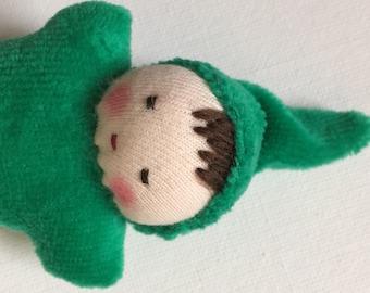 emerald green, germandolls, Waldorf pocket doll, gnome baby