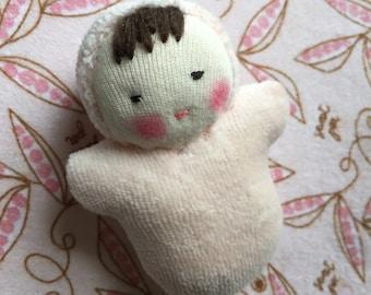peach pink, Waldorf cloth doll, Steiner toy, Waldorf pocket baby, germandolls, gift for girls, Waldorf toy