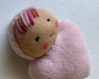 pink doll // Waldorf Pocket doll // rag doll // heart shaped // baby doll // Waldorf toy // stuffed toy