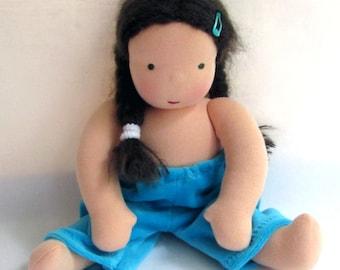 sky blue, Waldorf doll clothes, 12 inch doll pants, Steiner doll, Waldorf toy, cloth doll, ragdoll, Waldorf doll, handmade doll