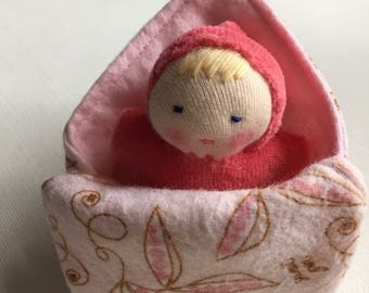 small pink swaddle doll // Waldorf baby with miniature blanket // natural fiber bunting doll