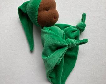 African American, black Waldorf doll, soft green blanket baby, Waldorf Toy, baby shower gift, natural fiber