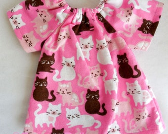 """waldorf toy // doll nightgown // 14 - 16 """" doll dress pink cats // natural fiber doll clothing"""