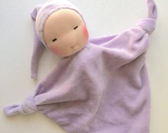 lavender purple baby, Blanket Doll, Baby shower gift, soft blanket, gift for baby, handmade doll, Waldorf dolls, comforting blanket
