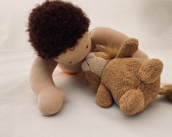 12 inch baby Doll, lions and Giraffes clothing, Zoo set made in the Waldorf tradition