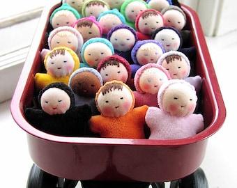 Waldorf dolls - Birthday Party Favors - 8 miniature Pocket babies - natural dolls - Waldorf toy - handmade doll - wholesale