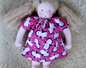 Waldorf doll clothes, 14-16 inch, doll clothes, Pink Penguin, doll Nightgown, doll Dress, for Waldorf doll, Waldorf toy