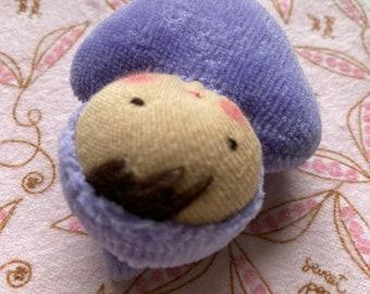 purple doll // Waldorf Pocket doll // rag doll // heart shaped // baby doll // Waldorf toy // stuffed toy