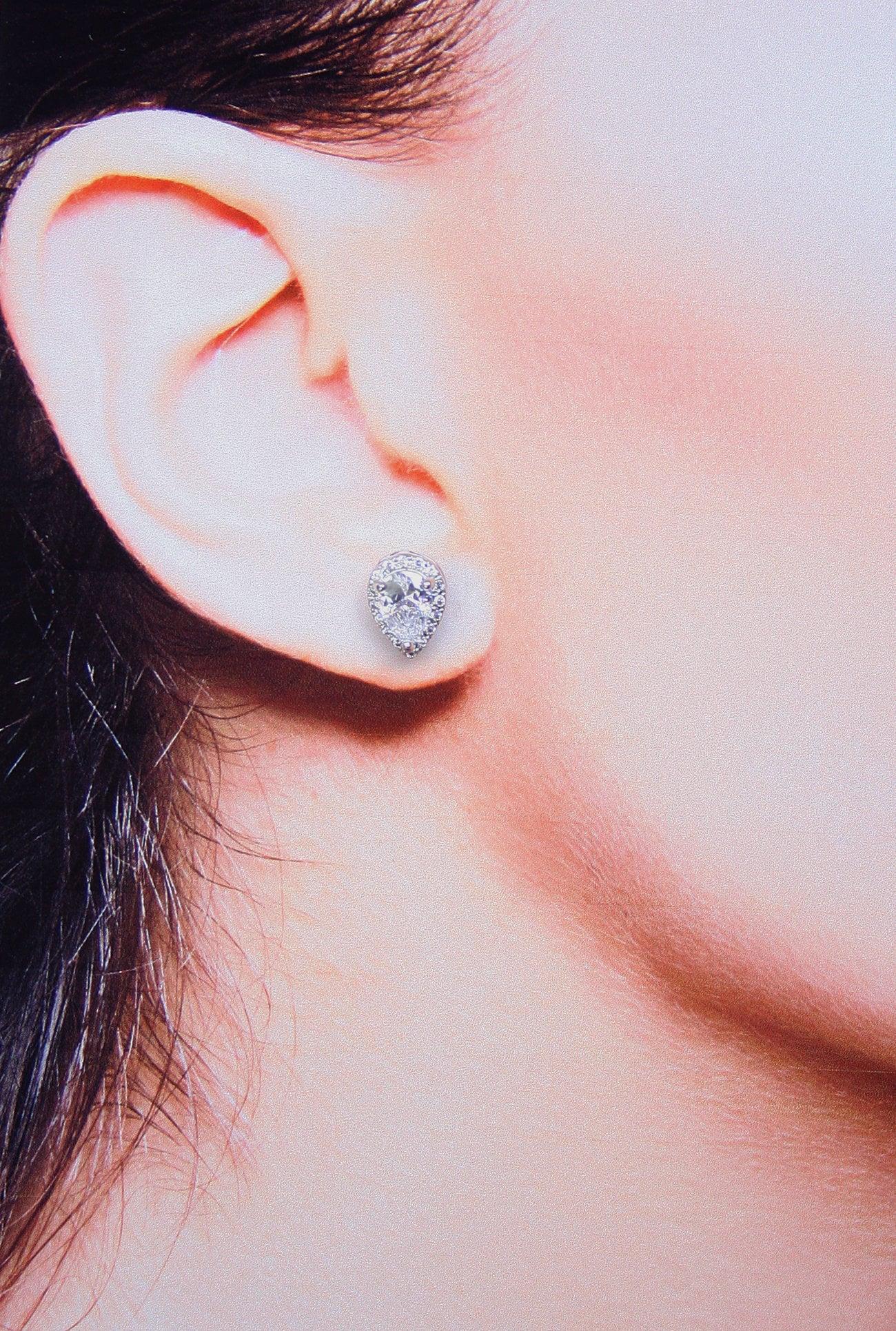 Floating Teardrop Stud Earrings Cubic Zirconia Best Stud