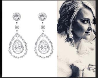 Pear Drop Earrings Dangle Drop Earrings Statement Earrings Ear Jacket Earrings Bridal Earrings Cubic Zirconia Earrings