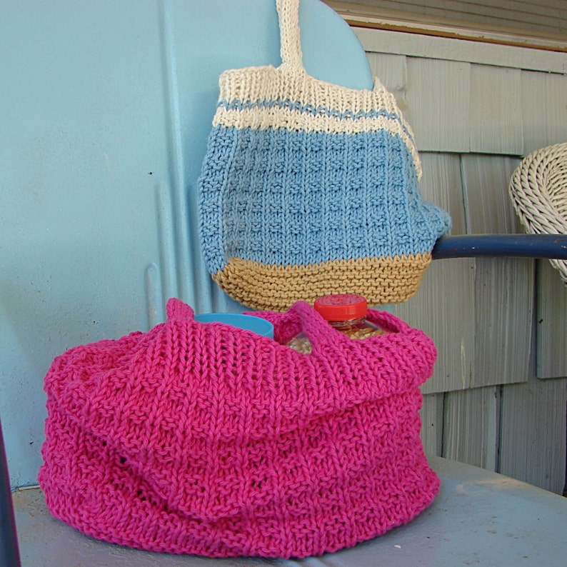 Pattern for Knit Shopping Tote Bag Hand Knit Pattern Purse ...