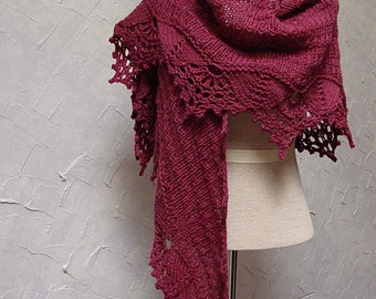Pattern Hand Knit Shawl with Lace Edging on Shawl bottom