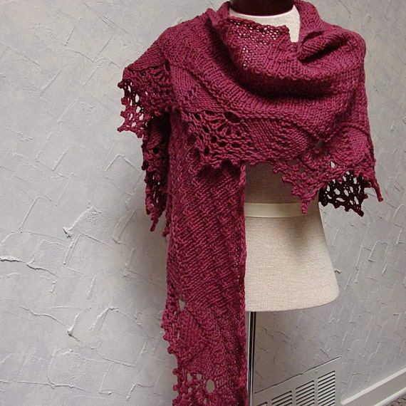 Pattern Hand Knit Shawl With Lace Edging On Shawl Bottom Etsy