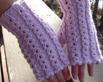 Pattern Lace Wristwarmers, Handwarmers. Fingerless Gloves
