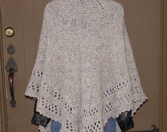 Pattern for Hand knit Topsy Turvey Shawl, knit from the top down, lace edging