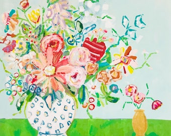 Fine Art Print, Floral Painting, Colorful Floral Painting, Happy Flowers, Impressionist Floral, Vivid Color Floral Print, Flower Art, Floral