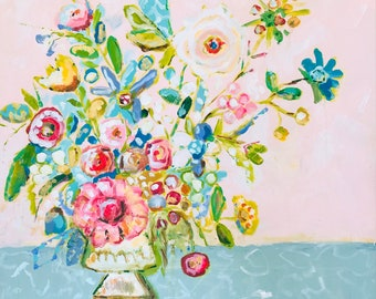 Floral Fine Art Print, Flower Print, Floral Painting, Flowers in Vase, Impressionist Floral Painting, Loose Floral Painting, Colorful Floral