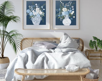 Fine Art Print, Floral Painting, Farmhouse Art, Impressionist Floral, Vivid Color Floral Print, Flower Art, Floral, Blue and White Flowers