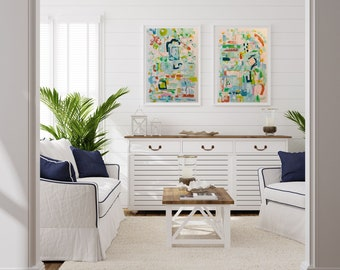 LARGE Original Painting, LARGE Colorful Abstract painting, Beach Art, Canvas Wall Art, Original Art, Happy Art, Abstract Art