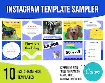 Instagram template dog, social media templates dog, social media templates for dog, pet social media template, dog trainer business