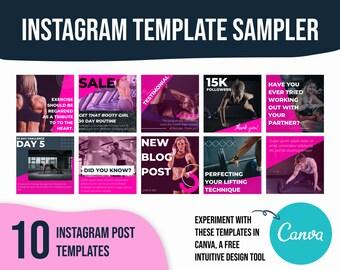 Fitness instagram template, social media templates fitness, fitness social media templates, canva template for beachbody
